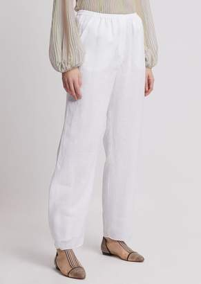 Emporio Armani Oversized Linen Pants With Buttons At Hem