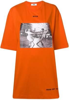 MSGM photographic print oversize T-shirt