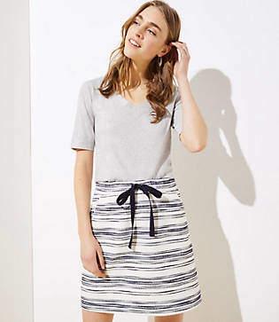 LOFT Tall Striped Knit Jogger Skirt