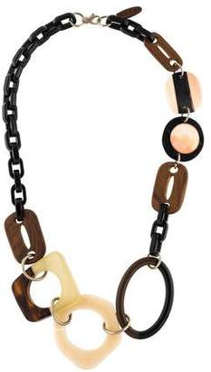 Marni Horn, Wood & Resin Link Necklace