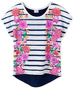 JCPenney Ransom GirlTM Floral Mirror-Print Striped Tee - Girls 4-16
