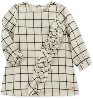 Calvin Klein Little Girls Ruffle-Trim Flannel Plaid Dress