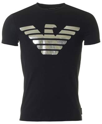 Giorgio Armani Metallic Eagle Logo Slim Fit T-shirt Colour: BLACK, Size: MEDIU