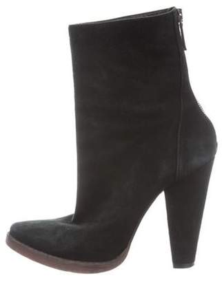 Balmain Suede Pointed-Toe Ankle Boots Black Suede Pointed-Toe Ankle Boots