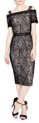 Rachel Roy Floral Lace Cold-Shoulder Midi Dress