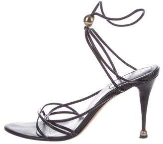 Sergio Rossi Leather Round-Toe Sandals