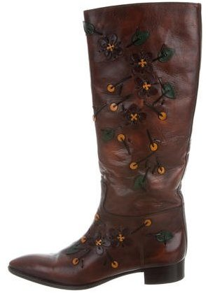 prada Prada Embellished Leather Boots