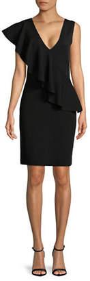 Diane von Furstenberg Asymmetrical Ruffle Sheath Dress
