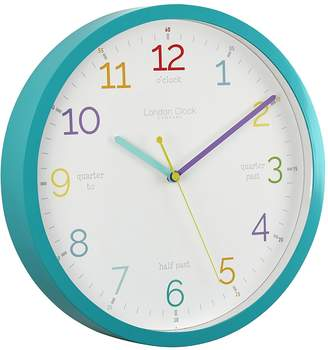 London Clock Company Tell the Time Silent Wall Clock, Aqua, 30cm