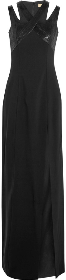 MICHAEL Michael Kors Michael Kors Collection Sequin-embellished cutout wool-blend crepe gown