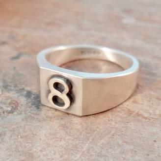 Van Buskirk Jewellery Personalised Number Square Silver Signet Ring
