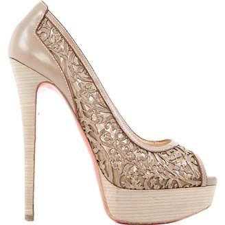 Christian Louboutin Lady Peep Grey Leather Heels