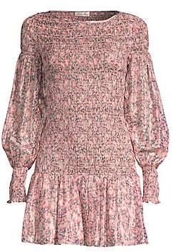 LoveShackFancy Women's Scarlett Smocked Silk Mini Dress
