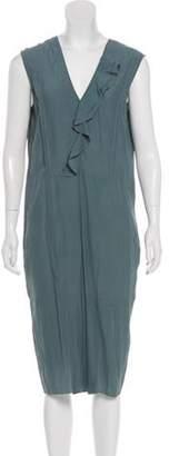 Marni Sleeveless Midi Dress Blue Sleeveless Midi Dress