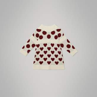 Burberry Childrens Heart and Spot Intarsia Cashmere Sweater Dress