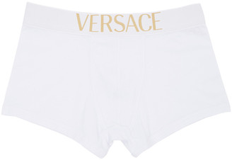 Versace Underwear White Logo Boxer Briefs $55 thestylecure.com