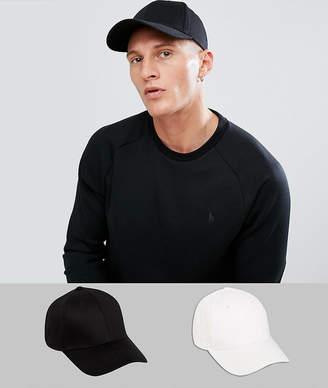 Asos DESIGN 2 pack baseball cap in black and white save