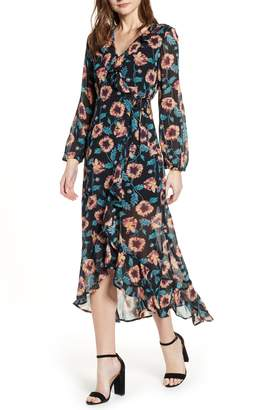 Band of Gypsies Reese Floral Print Midi Dress