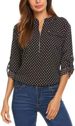 aedd127db069d LOMON Women s Chiffon Short Sleeve Office Zip Up Blouse Polka Dot Shirt Tops(  ...