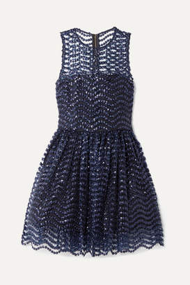 Alice + Olivia Alice Olivia - Daisy Embroidered Sequined Tulle Mini Dress - Indigo