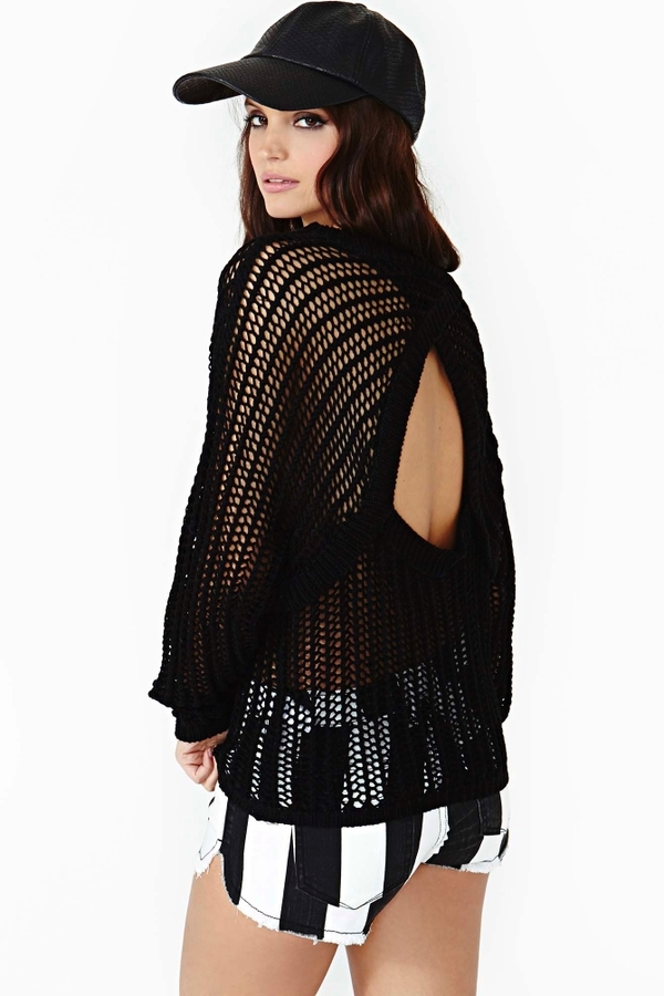 Nasty Gal Exposed Knit - Black