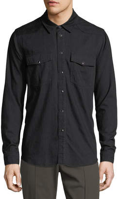 Vince Solid Cotton Western Shirt