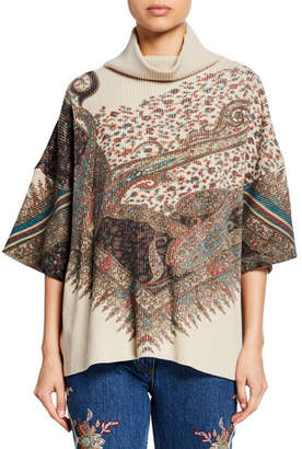 Etro Mock-Neck English Floral Wool-Cashmere Turtleneck Sweater