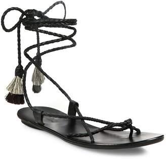 Loeffler Randall Women's Bo Braided Leather Ankle-Wrap Sandals