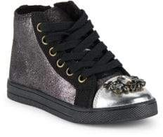 Girl's Devon Embellished High-Top Lace-Up Sneakers