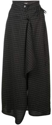 Lemaire check print draped front skirt