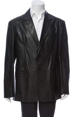 Armani Collezioni Embossed Leather Jacket