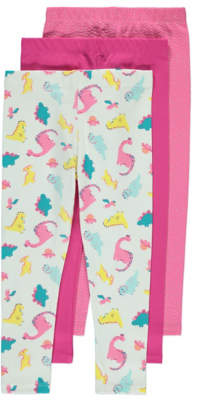 George Pink Dinosaur Leggings 3 Pack