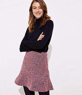 LOFT Petite Tweed Flippy Skirt