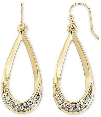 Liz Claiborne Gold-Tone & Crystal Teardrop Earrings
