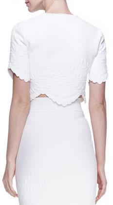 Alexander McQueen Embossed Crop Top, White
