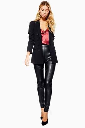 Topshop Womens Tall Stretch Pu Leggings - Black