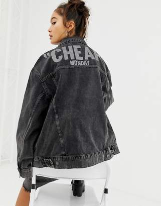 Cheap Monday reflective logo denim jacket with recycled polyester & organic cotton
