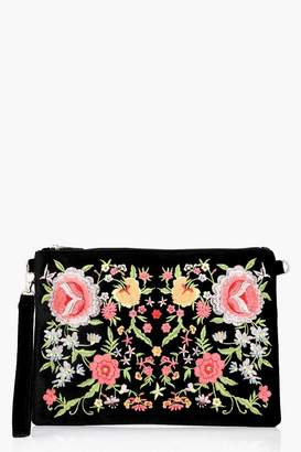 boohoo Hannah All Over Embroidered Clutch