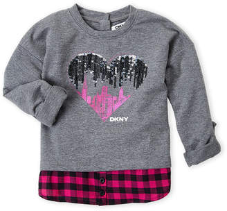 DKNY Toddler Girls) Sequin Heart Drop Shoulder Shirt