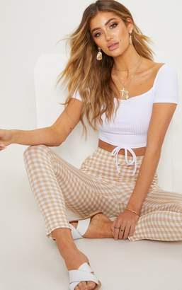 PrettyLittleThing White Ribbed Tie Detail Crop Top