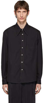 Lemaire Black Poplin Large Collar Shirt