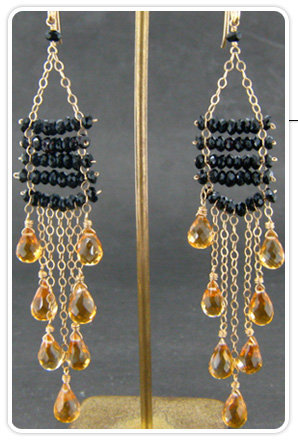 ONE Collection by Lori Leavitt Black Tourmaline and Citrine Chandelier Earrings