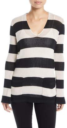 Minnie Rose Striped Mesh Cotton/Linen Sweater