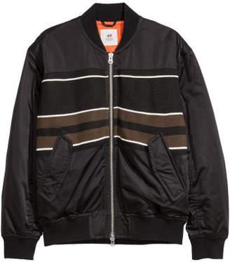 H&M Jacquard-Pattern Bomber Jacket - Black
