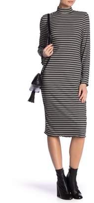 Dual Nature Stripe Mock Neck Midi Dress