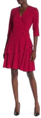 Robbie Bee Sparkly Ruffle Tier Wrap Dress