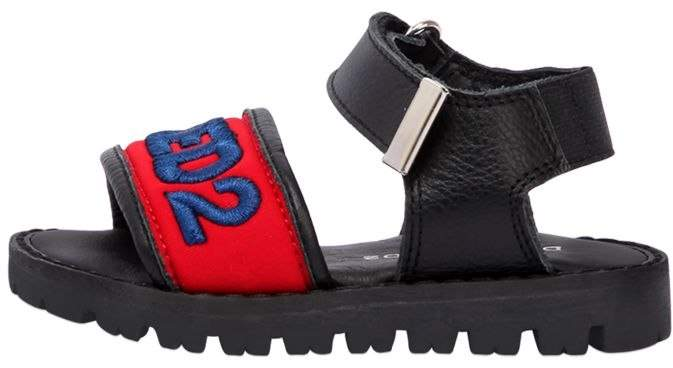 Embroidered Neoprene & Leather Sandals
