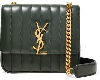 Saint Laurent Vicky Medium Quilted Leather Shoulder Bag - Army green