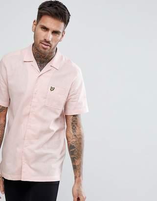 Lyle & Scott Linen Blend Revere Collar Shirt In Pink