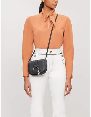 See by Chloe Tie-detail high-neck crepe blouse